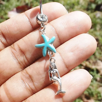 "Turquoise mermaid 14 gauge stainless steel belly navel ring, body jewelry, 2"" long"