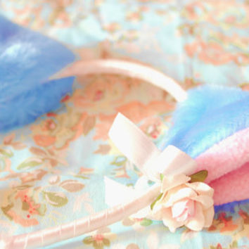 Kawaii Cat Ears blue headband pink flower white bow cute