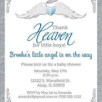 Thank Heaven for Little Boys Baby Shower Invitations - Unique Baby Shower Invitation - Baptism Invites