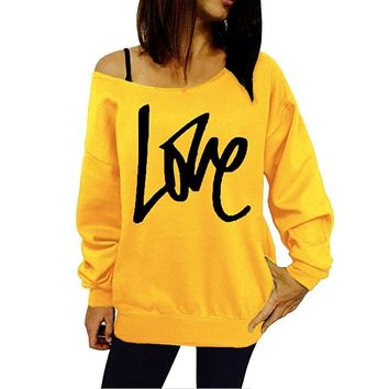 LASPERAL LOVE Letter Printed Spring Hoodies Fashion Women Sweatshirt Hoodies Sexy Off The Shoulder Pullovers Hoodies Jumper