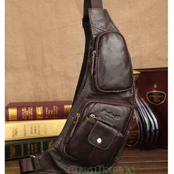 Men's Vintage Genuine Leather Travel Hiking Cycling Riding Motorcycle Bike Shoulder Messenger Sling Chest Bag