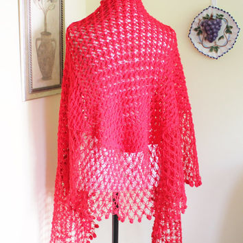 Hot RED Hand knit Crochet, Triangle Shawl Cape Wedding Bridal Shrug Shawl Bolero Women Winter Accessories, Ready to be shipped TODAY