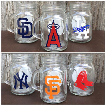 MLB Themed Mason Jar Shot Glasses