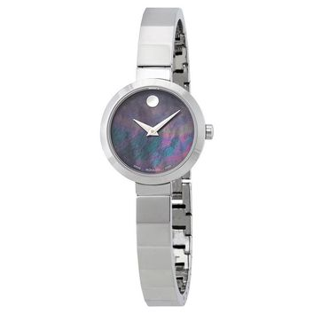 Movado Novella Black Mother of Pearl Dial Ladies Watch 0607109