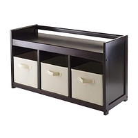 Winsome Woods Adddison 4pc Storage Bench with Multiple Storage Box