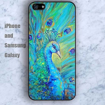 watercolor peacock iPhone 5/5S Ipod touch Silicone Rubber Case Phone cover Waterproof