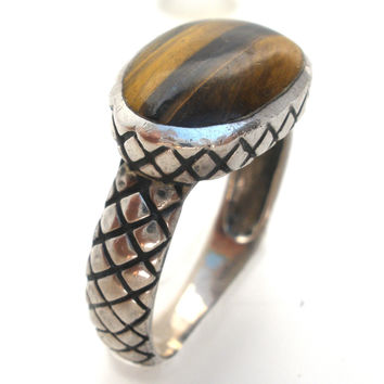 Tigers Eye Sterling Silver Ring Size 7.5 Vintage