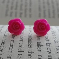 Hot Pink Rose Stud Earrings - Flowe.. on Luulla