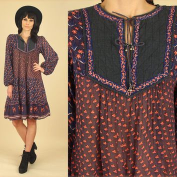 ViNtAgE 70's Indian Gauze Cotton Dress RARE Mini  // INDIA Floral Bib HiPPiE Festival BoHo Poet Sleeve Dress Gypsy Small Medium S / M
