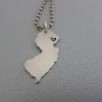 New Jersey State Necklace - Hand stamped with a heart on the county of your choice