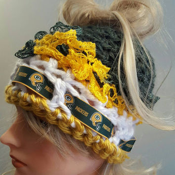 Crochet Packers bun hat. Made by Bead Gs on ETSY.  Ladies Size.