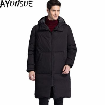 AYUNSUE Plus Size Parka Hombre 2017 Men's Winter Jackets Thick Hooded Male Coat White Duck Down Jacket Men Black Coats WXF170