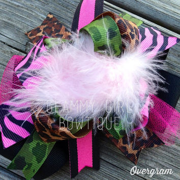 Hot Pink Leopard Camo OTT Hair Bow by glammygirlbowtique on Etsy