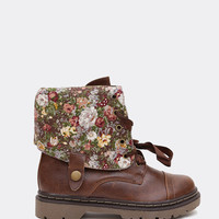 Adjustable Combat Boots - Brown