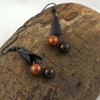 Black Paper Cone and Brown Bead EarringsGlow in by theotherstacey