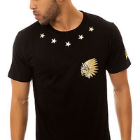 The Native Skull Star Tee in Black and Gold