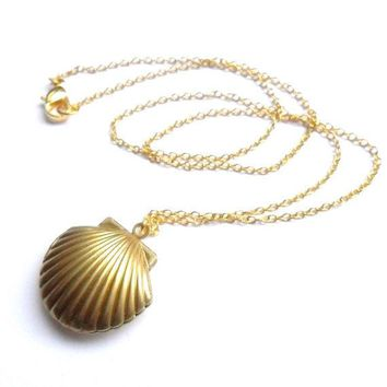 Sea Shell Locket Mermaid Necklace Beach Locket Gold Tone Brass Little Shell Locket Nautical Jewelry Gift Box