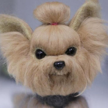 Yorkshire Terrier  needle felted toy, needle felted dog figurine, dog soft sculpture from pure wool