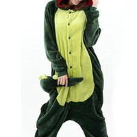 Plush Dinosaur One Piece Pajamas (Green, Small)