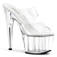 Sassy 7 Inch Heel 2 Band Platform Slide Clear Fitness- Competition Shoes