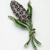 Large 1940s Signed CORO Rhinestone Enamel Hyacinth Brooch Pin