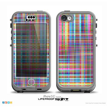 The Neon Faded Rainbow Plaid Skin for the iPhone 5c nüüd LifeProof Case
