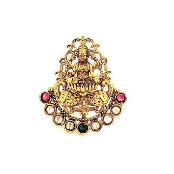 Arc shaped Goddess Lakshmi center Traditional adjustable Finger ring