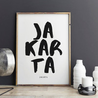 Jakarta Print, Jakarta Poster for office decor, Indonesia, city prints, gifts, work desk, Jakarta city Prints, art, Wall Art, Art