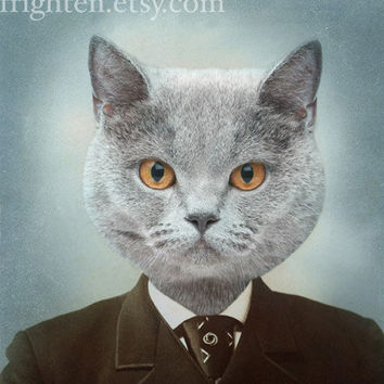 Cat Art, Mixed Media Collage Print, Mr. Gray, Ice Blue and Brown Altered Vintage Photograph, frighten
