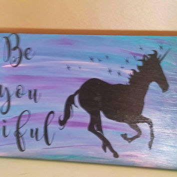 Unicorn decor - girls room decor - office decor - girls nursery decor - beautiful sign