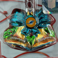 NFL Miami Dolphins Glitter Bell Christmas Ornament