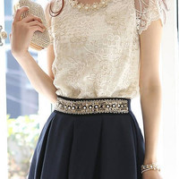 Pearl Beaded Lace Short Sleeve Blouse