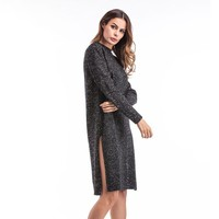 Women's Fashion Round-neck Split Winter Knit Tops Prom Dress Jacket [11182512263]