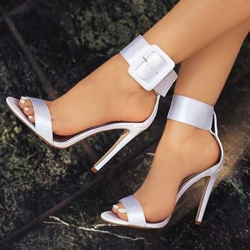 Buckle Ankle Strap Sandals High Heels