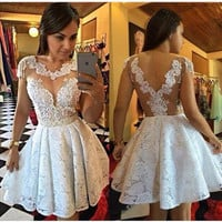 Homecoming Dresses, Lace Appliques Homecoming Dress with Cap Sleeves