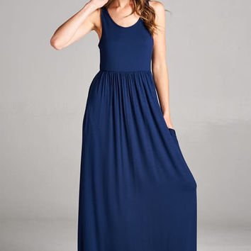 Racerback Maxi Dress  - Navy