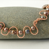 Pearl Necklace  Copper Wire Wrapped by MiscellaneaEtcetera on Etsy