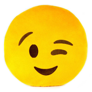 Emoji Winking Pillow