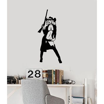 Vinyl Wall Decal Sexy Cowgirl with Gun Texas Woman Room Art Stickers Mural (ig6085)