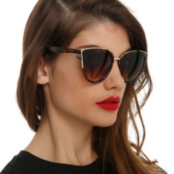 Tortoise Metal Bridge Cateye Sunglasses