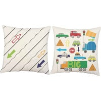 Kids Cars and Trucks Throw Pillows - Transportation Pillow Covers and or Cushion Inserts - Cars Print, Traffic Print, Kids Playroom Pillows