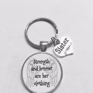 Sister Proverbs 31 Strength And Honour Are Her Clothing Gift Keychain
