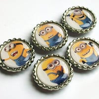 Minion Magnets / Bottle Cap Magnet Set / Despicable Me Bottlecap / Minions / Fridge Magnets / Despicable Me Party Favors