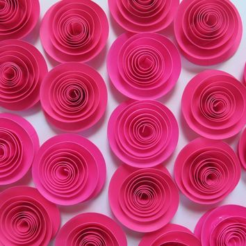 "Fuchsia paper flowers set of 24 bulk hot pink 1.5"" roses lot, girl nursery ideas, baby shower decor, wedding reception table scatter"