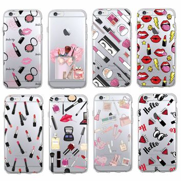 * Sexy Lips Makeup Cosmetics Lipstick Powder Soft Clear Phone Case Coque Fundas For iPhone 7 7Plus 6 6S 5 5s SE 8 8Plus X