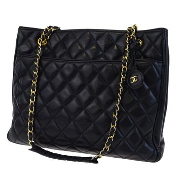 Auth CHANEL CC Logos Quilted Chain Shoulder Tote Bag Charm Leather Black 32ED082