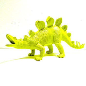 neon lime green dinosaur figurine  //  upcycled kitsch home decor  //  chartreuse pop art, kids room, altered toy, prehistoric
