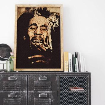Bob Marley Painting Poster Art Painting Print Canvas Print Music Poster Canvas Poster Design Wall Art Home Gift Earliest Reggae Poster