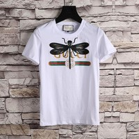 LMFONHA Gucci Women or Men Fashion Casual Pattern Embroidery Shirt Top Tee