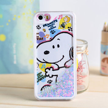 Cartoon Dog Dynamic Liquid Glitter Sand Quicksand Star Bling Clear iPhone 5/5S Phone Case